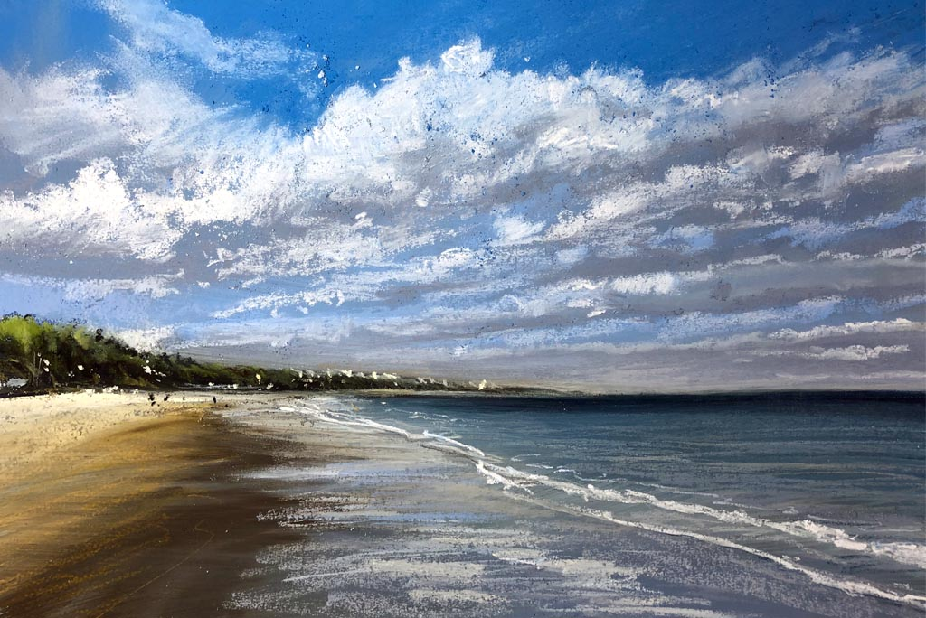 View of bournemouth beach in pastel