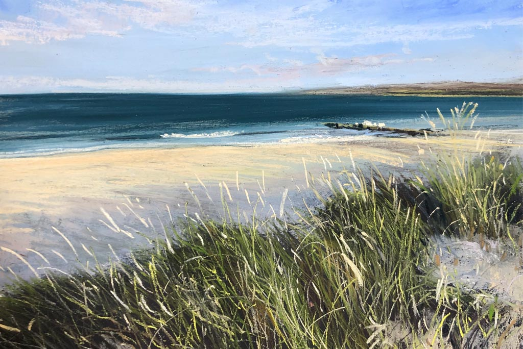 Pastel painting of sand dunes overlooking Studland
